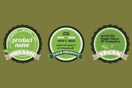 Three organic non gmo ECO badges Illustration