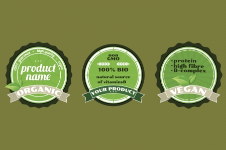 gmo: Three organic non gmo ECO badges Illustration
