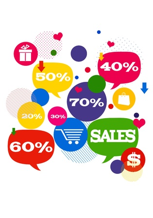 Sales shopping icons. Colorful bubblesbuttons floating  with shopping icons and sales percents.