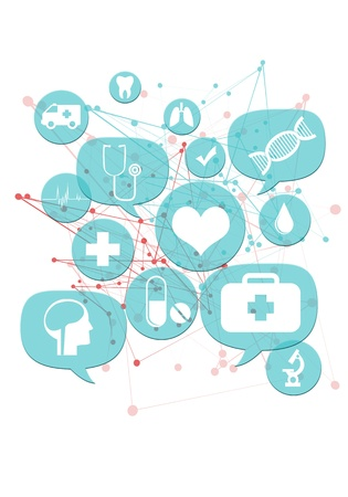 Medical or pharmacy business icons./ Light blue transparent beveled bubbles/buttons floating with medical icons Stock Photo - 21080440