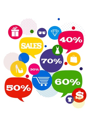 Sales shopping icons./ Colorful bubbles/buttons floating  with shopping icons and sales percents. Stock Photo - 21080443