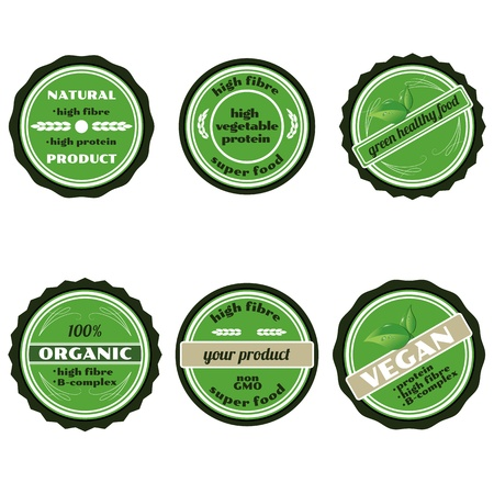 Set of green badges/Set of six green organic badges isolated on white photo