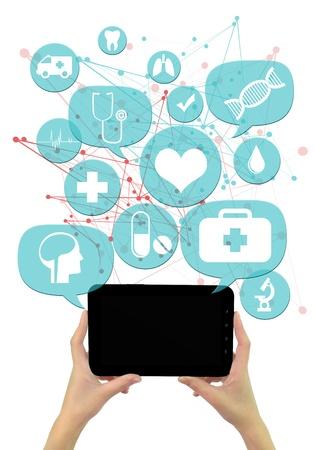 Online medische of apotheek zakelijke template.  Handen die tablet, lichtblauw transparant afgeschuinde bellen  toetsen zweven van het met medische pictogrammen