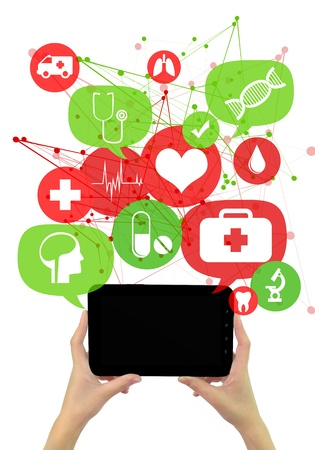 Online medical or pharmacy business template./ Hands holding tablet,green and red transparent bubbles/buttons floating of it with medical icons
