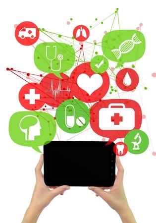 Online medische of apotheek zakelijke template.  Handen die tablet, groene en rode transparante bellen  toetsen zweven van het met medische pictogrammen