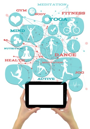 health information: Promotional gymfitnessathletic business template. Hands holding tablet with white clean display. Light blue transparent beveled bubblesbuttons, with fitness icons floating above it. Elegant abstract shapes in the background and appropriate text emergi