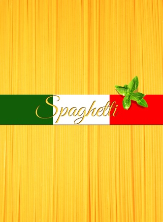 Abstract view of bunch of italian spaghetti making a vertical background with Italy flagribbon for text on top photo