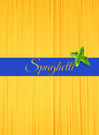 Abstract view of bunch of italian spaghetti making a background with ribbon for text on top photo