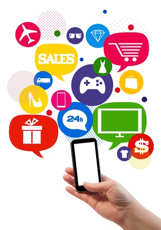 buy online: Online sales shopping or shop business template   Hand holding mobile phone, bubbles buttons floating of it with online shopping icons  Stock Photo