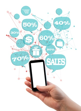 e market: Online sales shopping or shop business template   Hand holding mobile phone, bubbles buttons floating of it with online shopping icons and sales percents