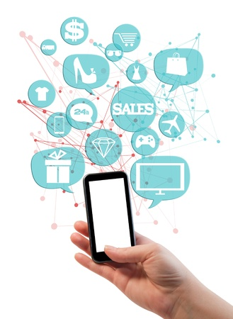 Online sales shopping or shop business template   Hand holding mobile phone, bubbles buttons floating of it with online shopping icons
