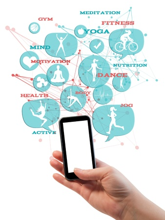 Promotional gym fitness athletic business template   Hand holding cell mobile phone with white clean display  Light blue transparent beveled bubbles buttons, with fitness icons and text floating above it
