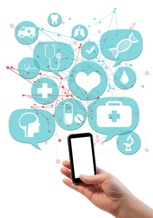 future sign: Online medical or pharmacy business template   Hand holding mobile cell phone, light blue transparent beveled bubbles buttons floating of it with medical icons