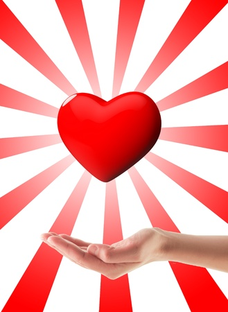 donacion de organos: Donaci�n de �rganos Mano con el coraz�n 3d con la explosi�n detr�s de �l, aislados en blanco Foto de archivo