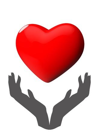 donacion de organos: Donaci�n de �rganos tomados de la mano Silueta 3d coraz�n brillante, aislado en blanco