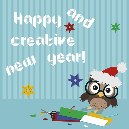 Happy new year owl Creative illustration of little owl crafting origami New year text and snowflakes Vector