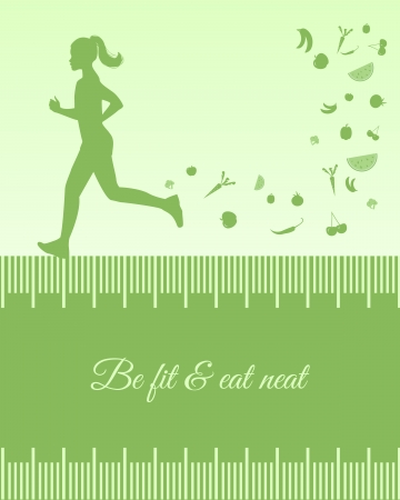 kilos: Silhouette background with female running  Silhouette background with female running, fruits and vegetables, measuring tape and copy space inside it