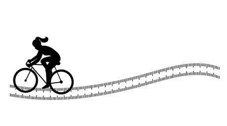 kilos: Silhouette background with female cycling  Silhouette background with female cycling on abstract measuring tape isolated on white
