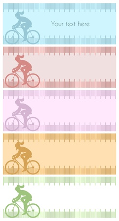 kilos: Four silhouette backgrounds with female cycling  Silhouette background with female cycling, in measuring tape and copy space for text