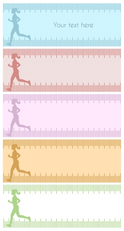 kilos: Four silhouette backgrounds with female running  Silhouette background with female running inside measuring tape and copy space for text