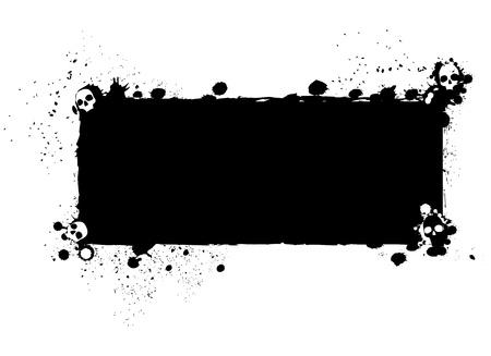 Halloween grunge silhouet achtergrond Halloween grungy silhouet achtergrond met verborgen schedels, zwarte inkt op wit wordt geïsoleerd Stockfoto