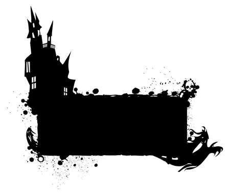 Halloween grunge silhouette background Halloween grungy silhouette background with haunted house and ghosts, black ink isolated on white photo