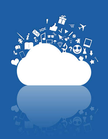Cloud computing concept  Cloud computing concept and various web icons floating  above it photo