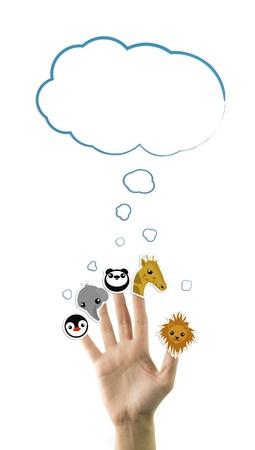 leon caricatura: Animales salvajes adorables pegatinas en la mano, aislados en blanco Foto de archivo