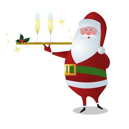 Santa serveren van drank, die gouden portie plaat met twee glazen champagne, geïsoleerd op wit