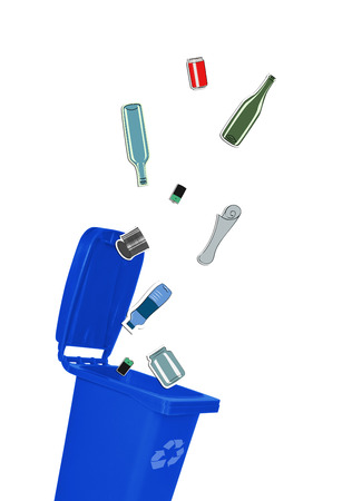 Closeup of blue recycle bin with open lid and recyclable materials photo