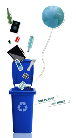 Blue recycle bin with recyclable materials and earth balloon photo