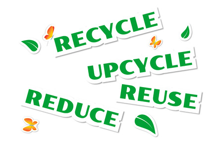 Environmental green stickers isolated on white photo