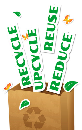 Environmental concept, paper bag with stickers words Reduce, Reuse, Upcycle, Recycle photo