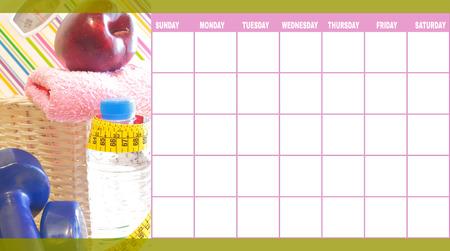 Lichaamsbeweging en voeding van dag tot dag kalendersjabloon Stockfoto - 23966617