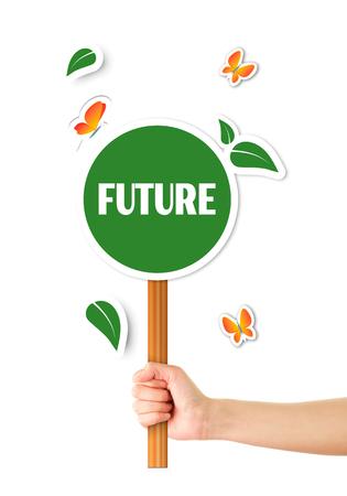 recourse: Hand holding green eco sign Stock Photo