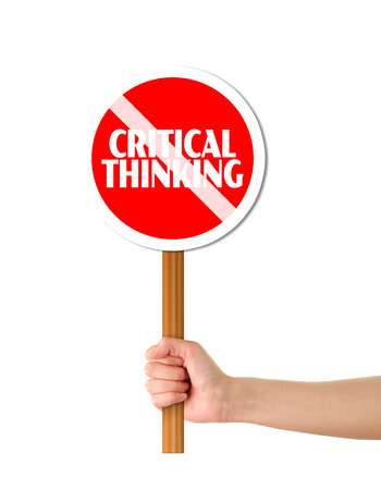 chit chat: Hand holding red critical thinking forbidding sign Stock Photo