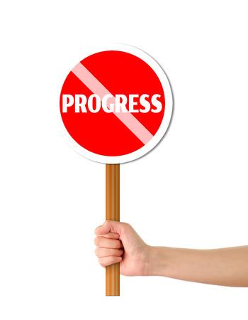 humanism: Mano que sostiene el progreso cartel rojo