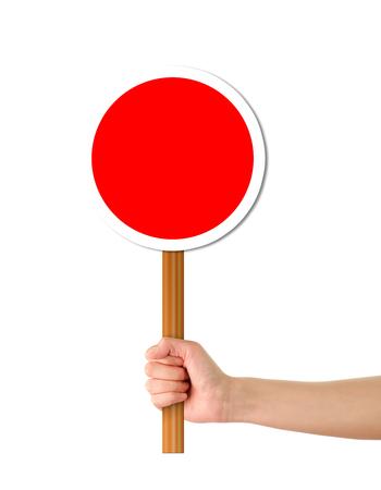 Hand holding Red alert signtemplate