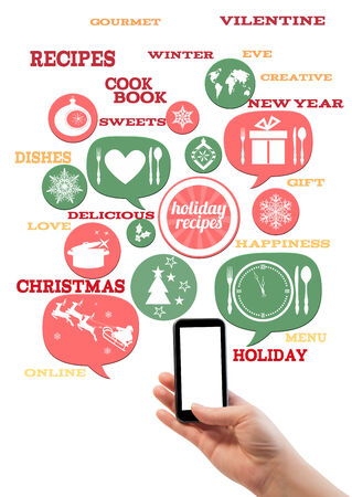 Online winter holiday recipe website business template. Hand holding smartphone bubblesbuttons floating of it with festive holiday icons and text. photo