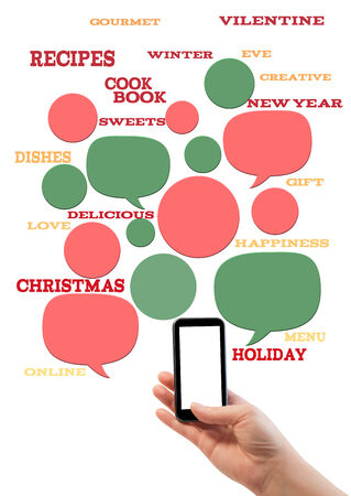 Online winter holiday recipe website business template. Hand holding smartphone bubbles/buttons floating of it with festive holiday text. photo