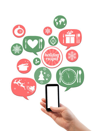 Online winter holiday recipe website business template. Hand holding smartphone bubblesbuttons floating of it with festive holiday icons photo