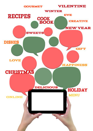 Online winter holiday recipe website business template. Hand holding tablet bubbles/buttons floating of it with festive holiday text. photo