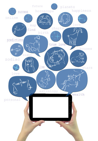 Online astrology site template on tablet with icons isolated photo