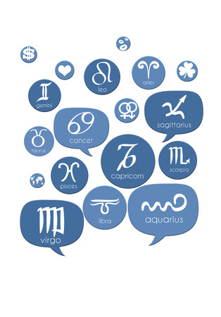 Astrology speech bubbles and icons isolated on white photo