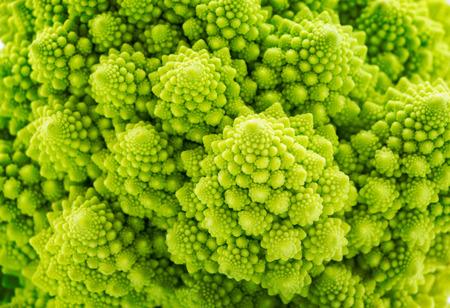 Beautiful closeup background of Romanesco spiral broccoli Stockfoto