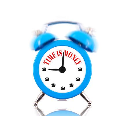 Time is money! Alarm clock ringing isolated on white photo