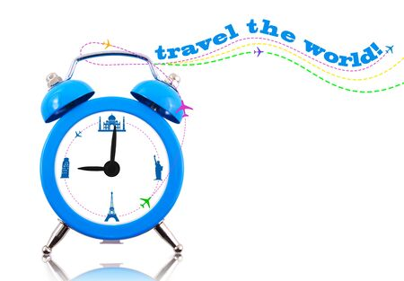 Travel the world! Clock with landmarks on dial isolated photo