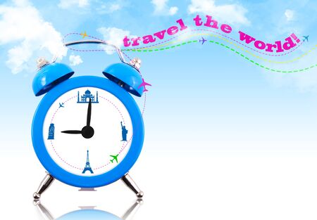 Travel the world! Clock with landmarks and sky photo