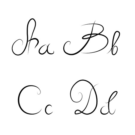 Hand drawn calligraphic letters A,B,C,D isolated Stock Photo - 27333636