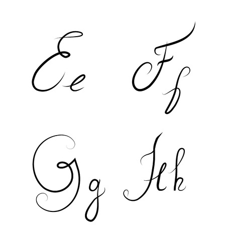 italics: Hand drawn calligraphic letters E,F,G,H isolated